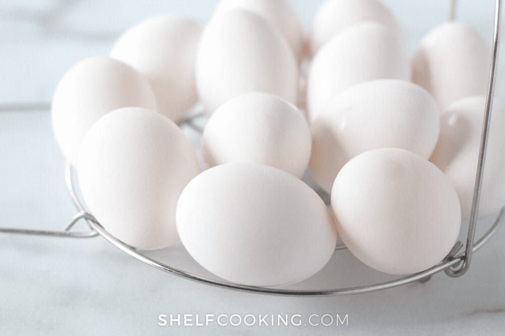 plate of eggs on white marble counter, from Shelf Cooking