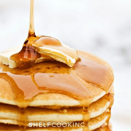 close up of stack of pancakes with butter and maple syrup, from Shelf Cooking