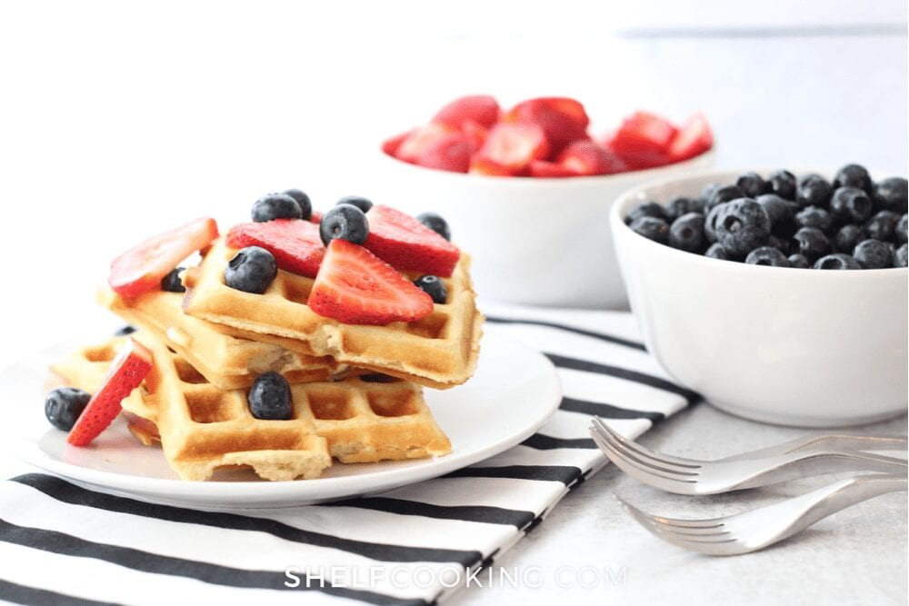 plate of waffles topped with berries, from Shelf Cooking