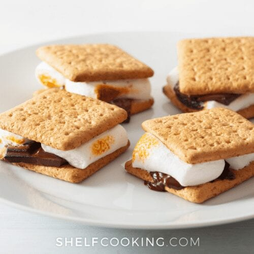 Easy s'mores recipe on a plate, from Shelf Cooking
