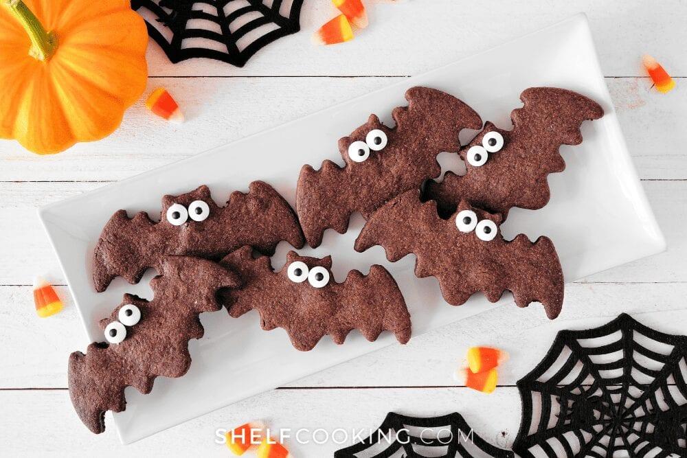 Chocolate bat Halloween cookies, from Shelf Cooking