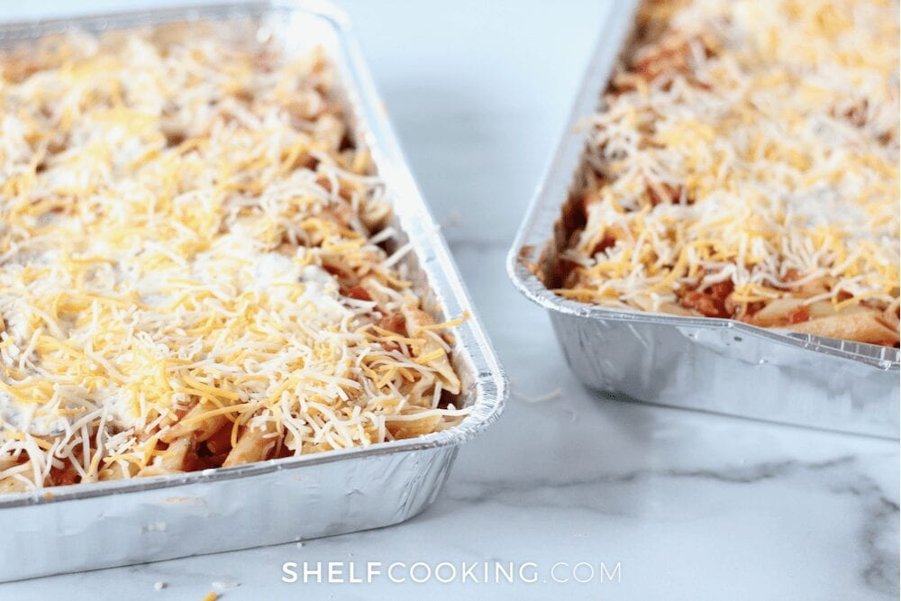 two disposable aluminum casserole dishes with pasta casserole, from ShelfCooking.com