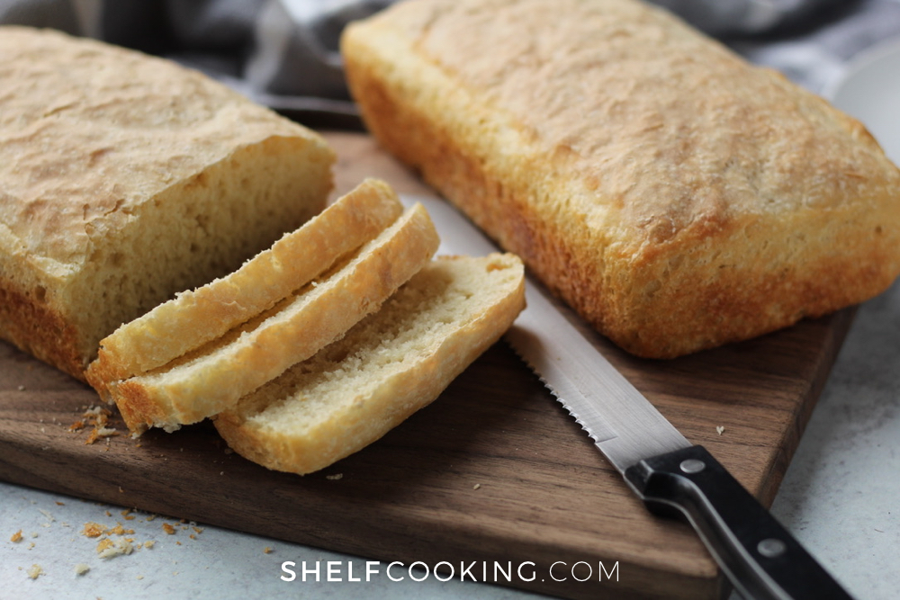no knead bread loaves on a cutting board, from Shelf Cooking