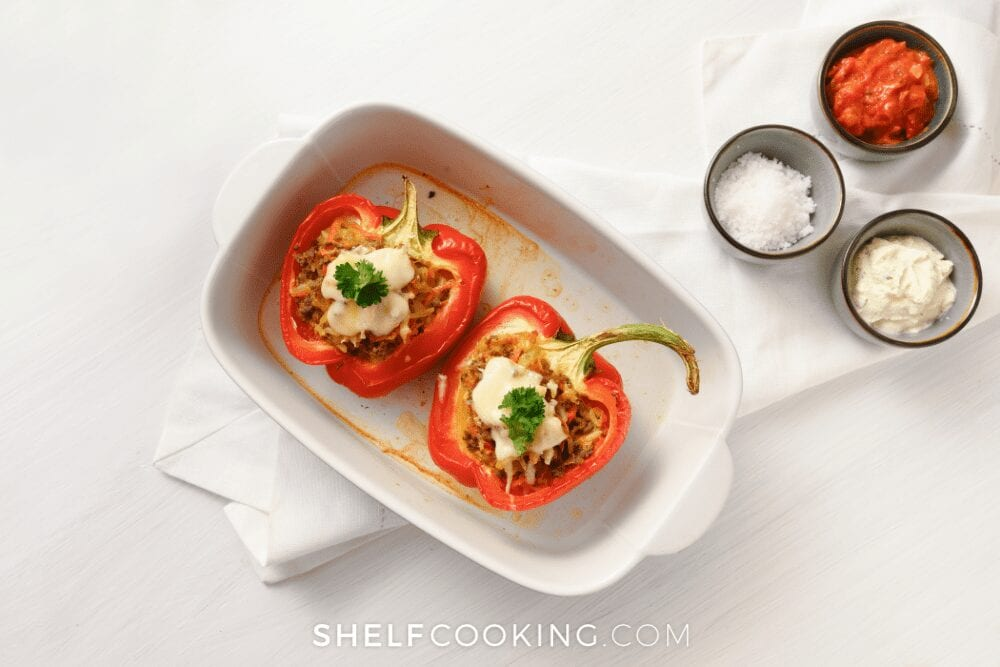 dish of stuffed peppers, from Shelf Cooking