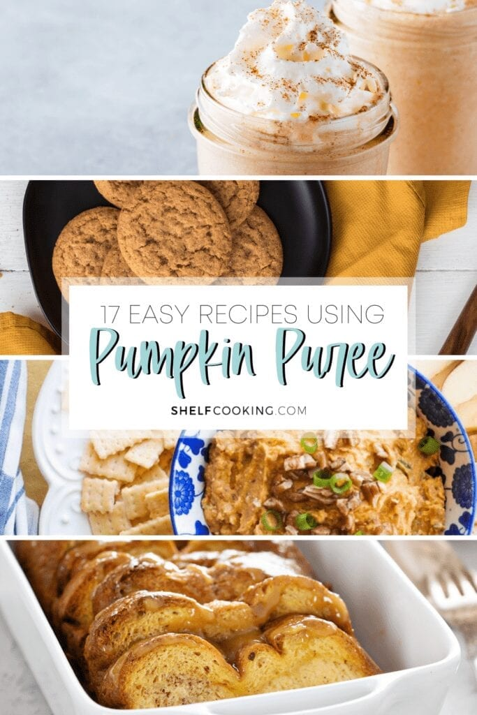 "Image with text that reads ""17 easy recipes using pumpkin puree"" from Shelf Cooking"