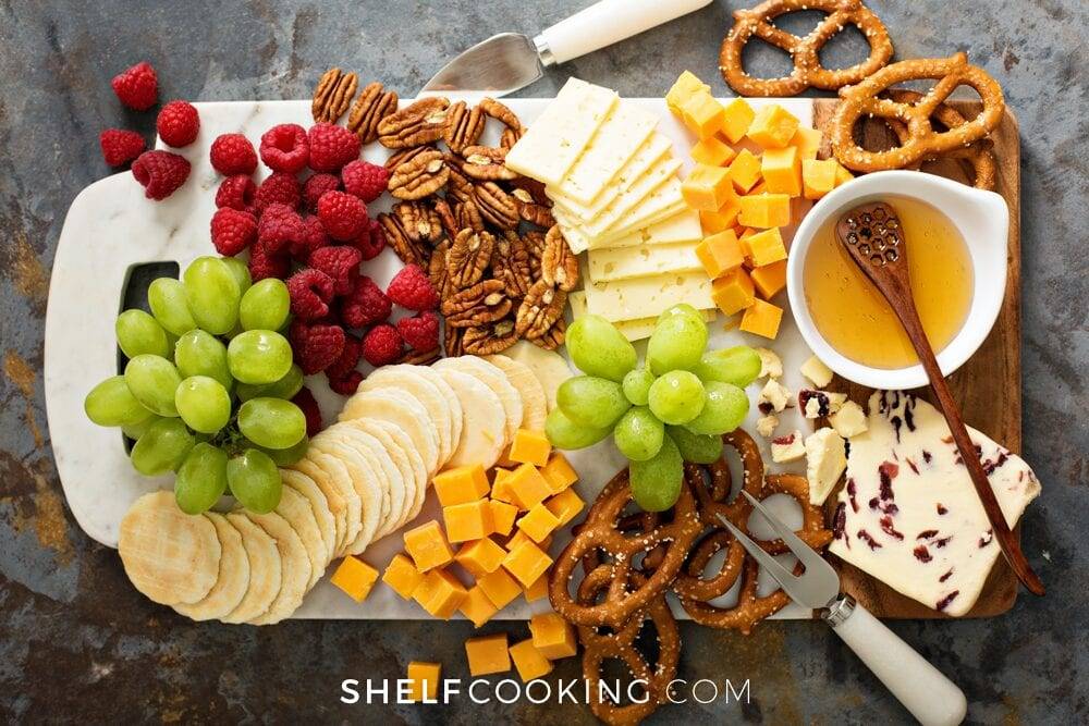Easy appetizers on a platter, from Shelf Cooking