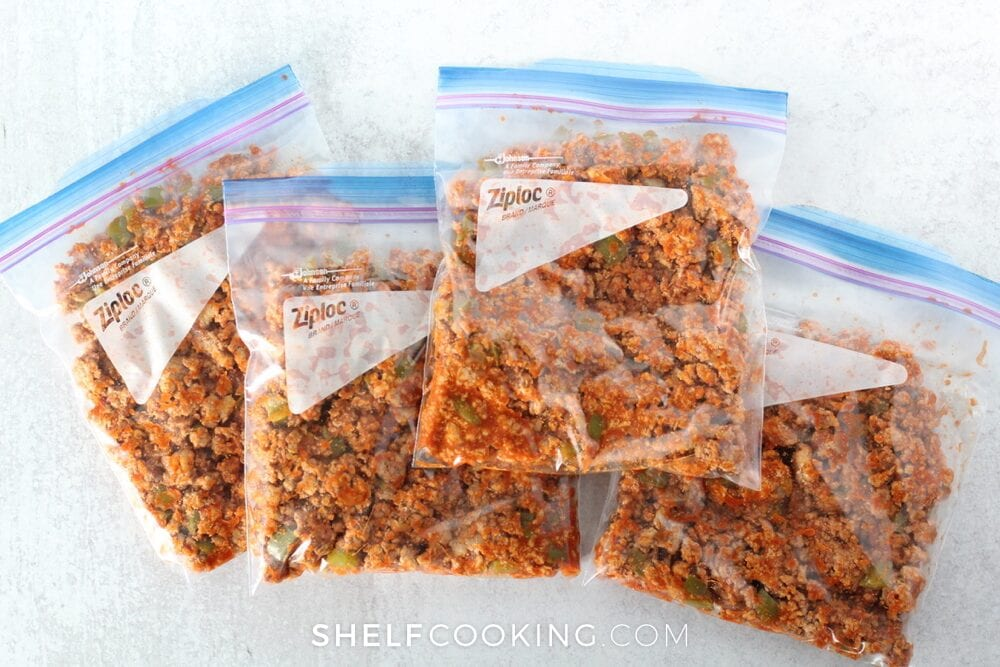 Frozen meat in a freezer bag, from Shelf Cooking
