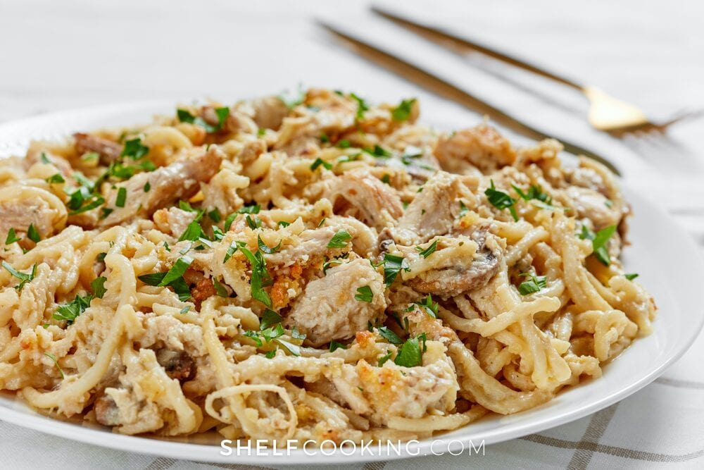 Turkey tetrazzini on a plate, from Shelf Cooking