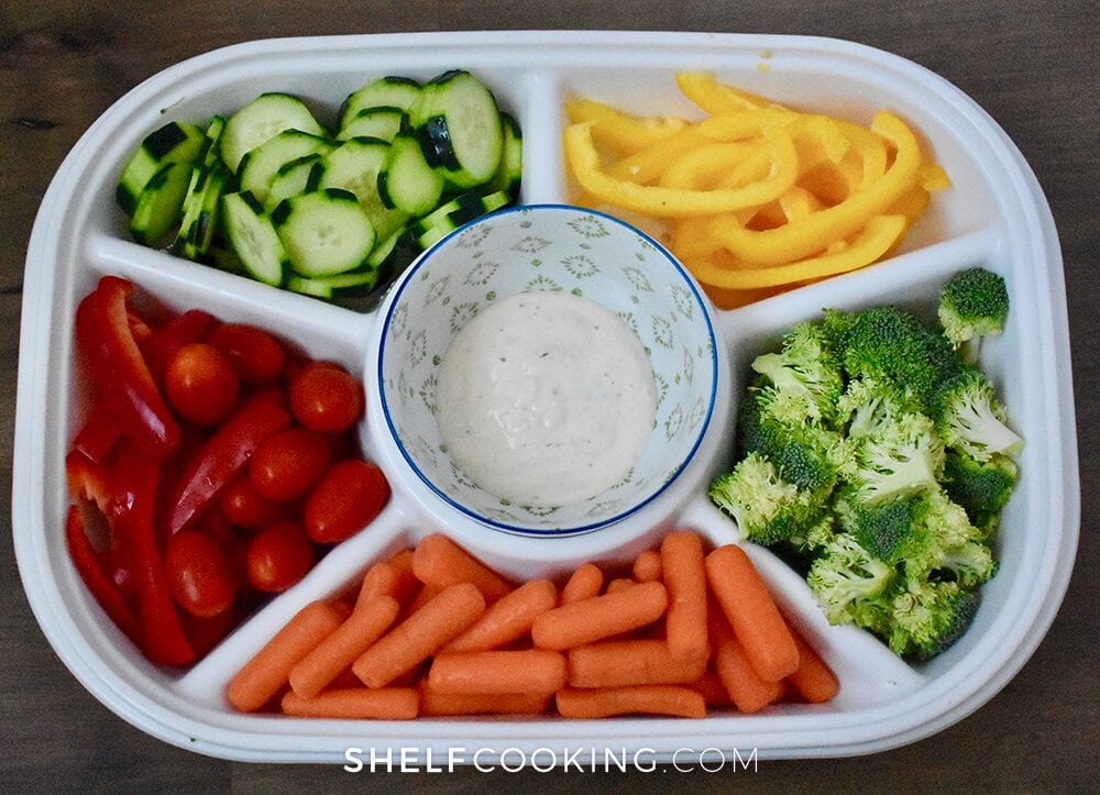 Veggie tray on a table, from Shelf Cooking