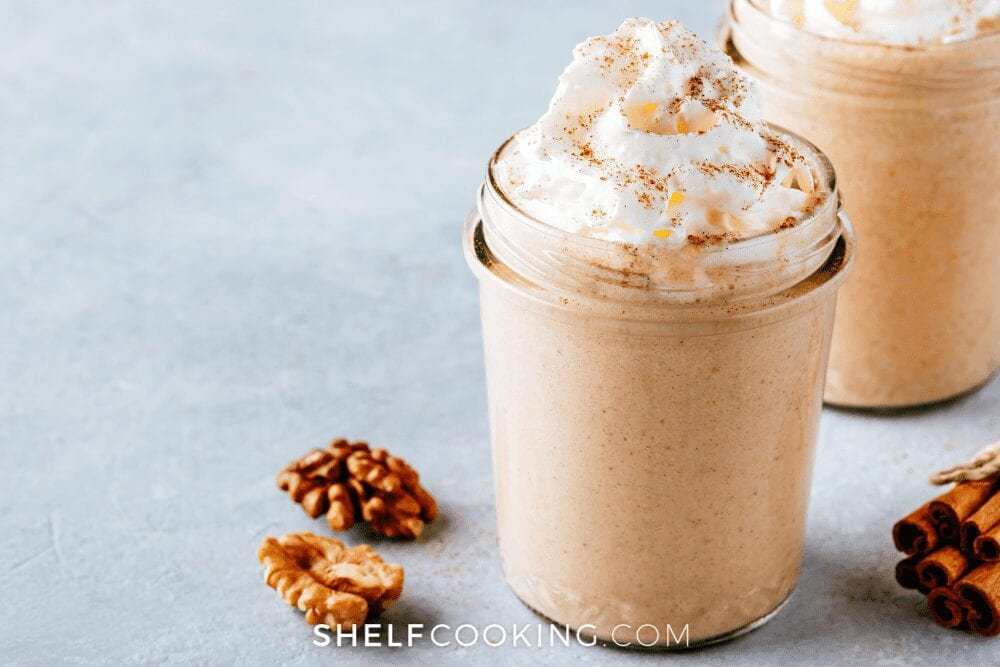 pumpkin milkshake topped with whipped cream, from Shelf Cooking