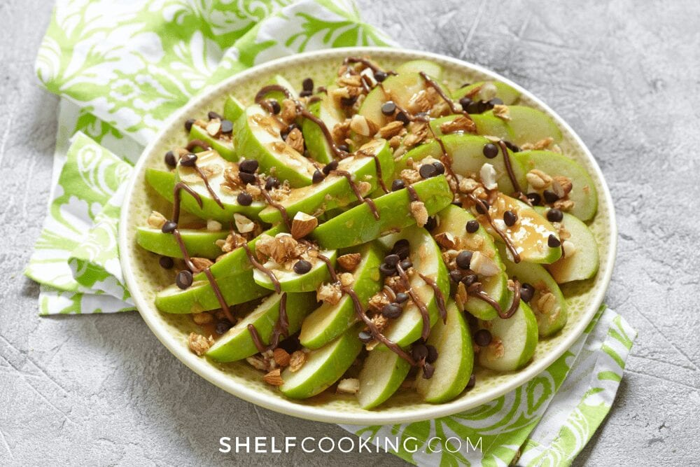 apple nachos on a plate, from Shelf Cooking