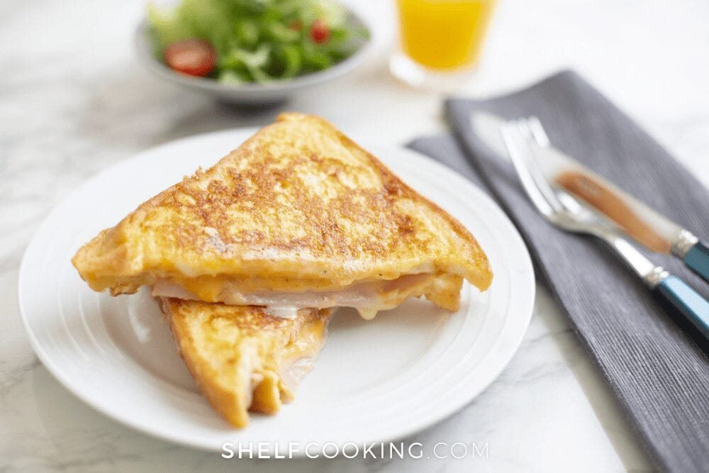 monte cristo sandwich made from french toast from Shelf Cooking
