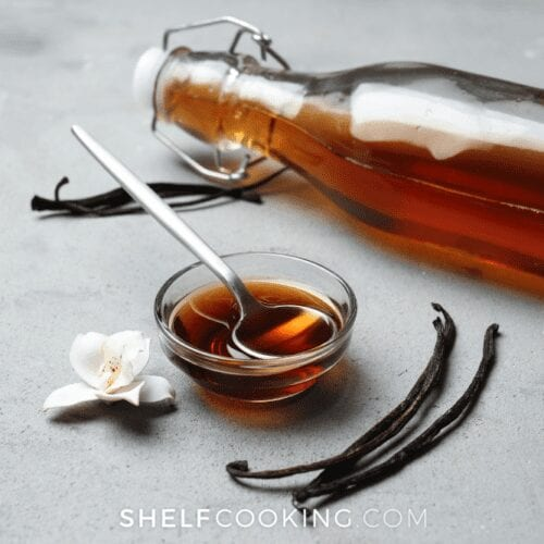 DIY vanilla extract showing how to make vanilla extract from Shelf Cooking