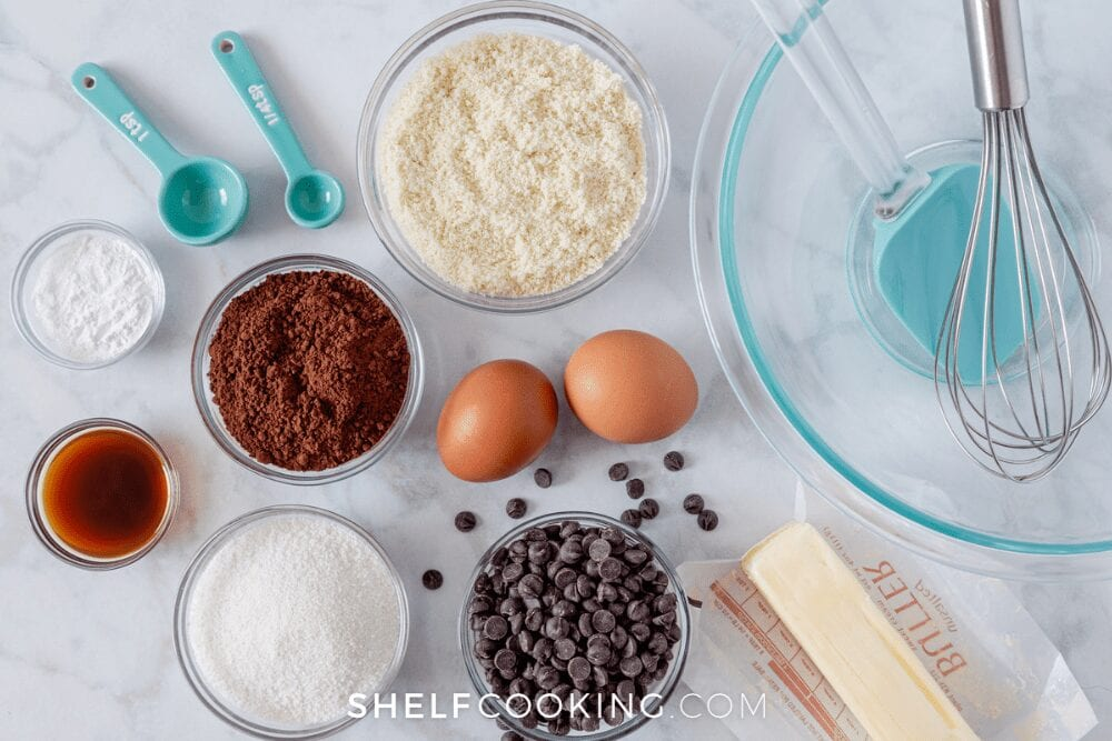 Brownie ingredients on a countertop, from Shelf Cooking