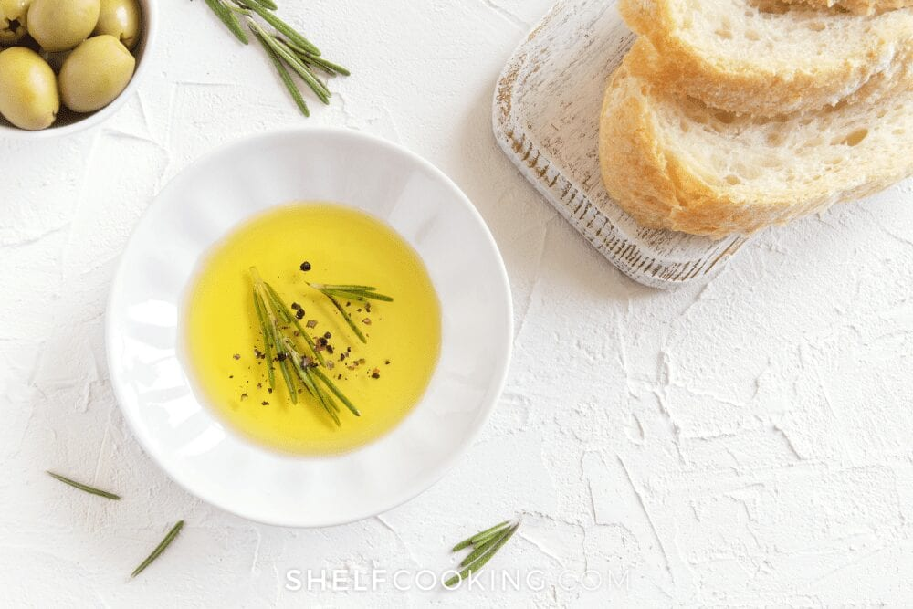 olive oil and herb dip with bread, from Shelf Cooking