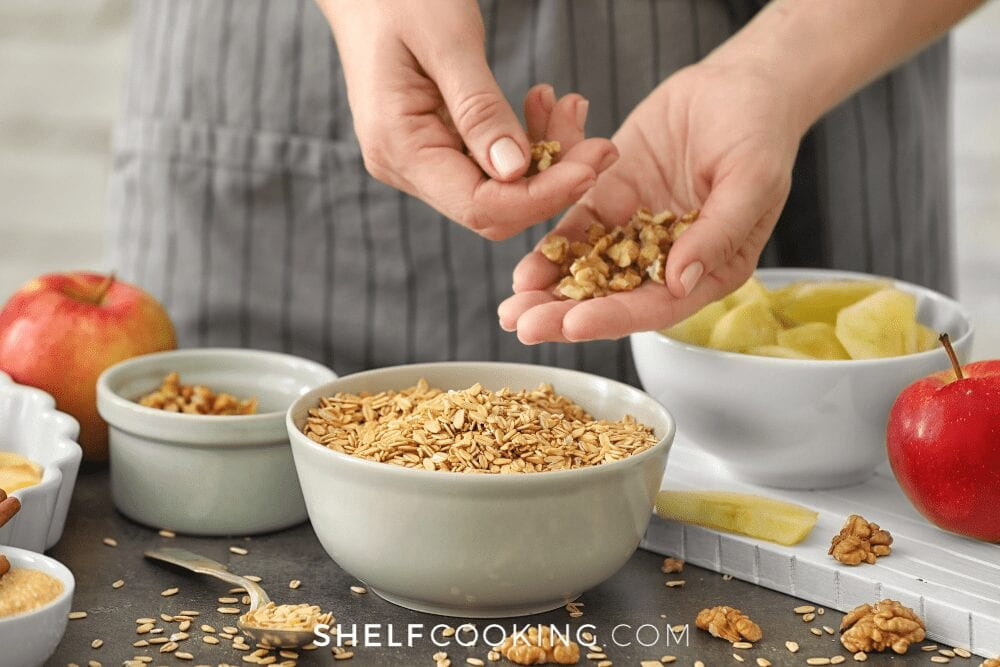 woman holding oatmeal and making apple crisp, from Shelf Cooking