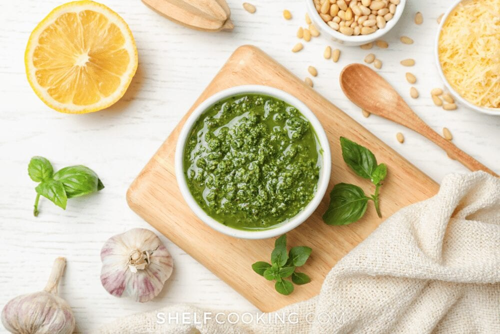 a bowl of homemade Chimichurri, from Shelf Cooking