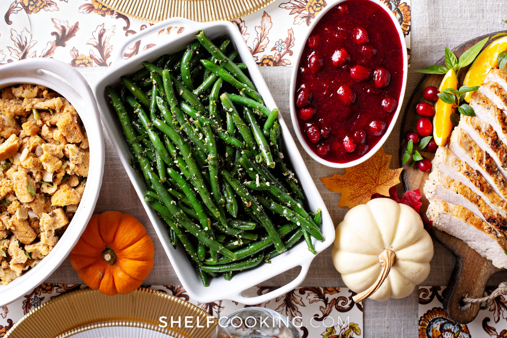 green beans and cranberry sauce, from ShelfCooking.com