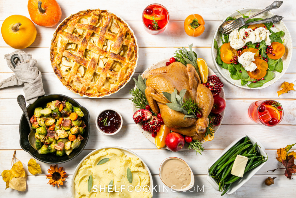 a table full of Thanksgiving food, from ShelfCooking.com