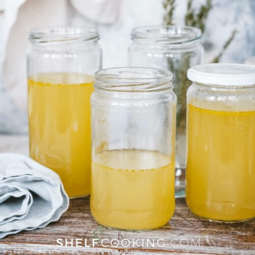 glass jars of turkey broth, from Shelf Cooking