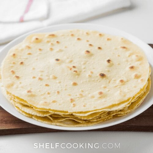 a plate of flour tortillas, from ShelfCooking.com