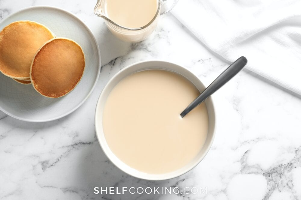 Sweetened condensed milk with pancakes, from Shelf Cooking