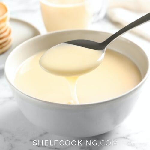 Sweetened condensed milk on a counter, from ShelfCooking.com