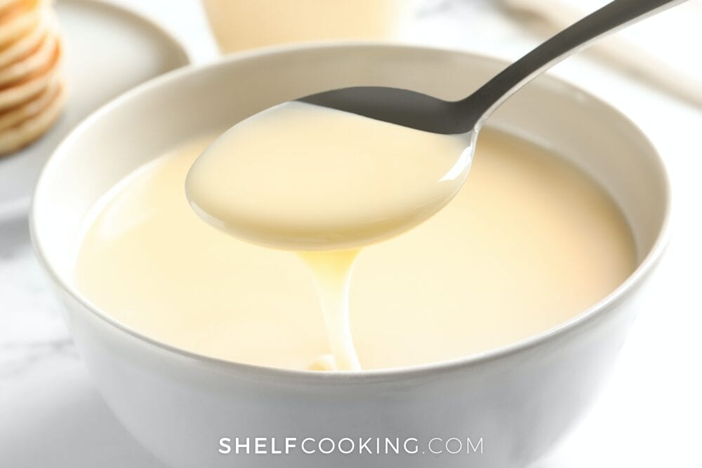 Spoon with sweetened condensed milk, from Shelf Cooking