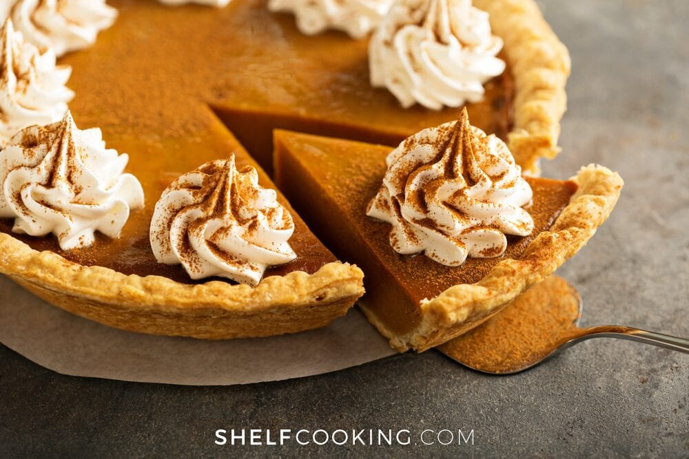 Pumpkin pie on a table, from Shelf Cooking
