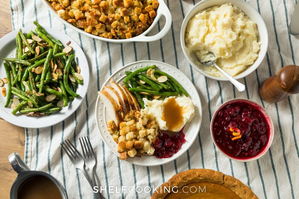 Thanksgiving food on a table, from Shelf Cooking