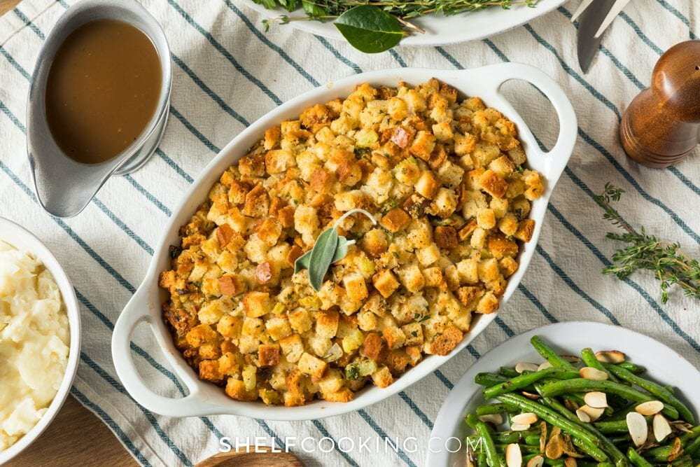 Thanksgiving stuffing on a table, from Shelf Cooking