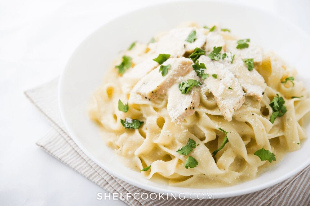 plate of fettuccini Alfredo, from Shelf Cooking