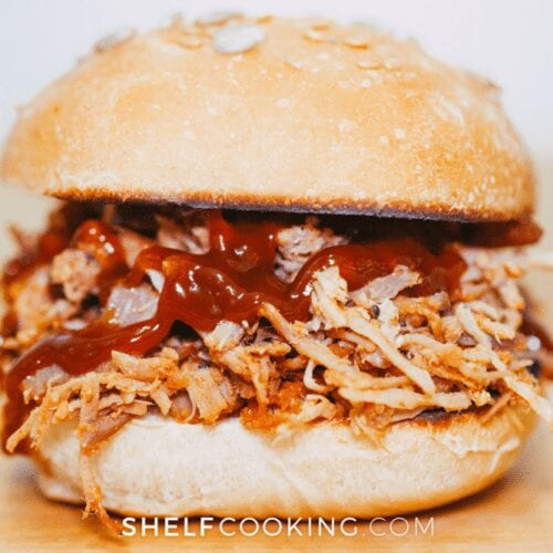 pulled pork sandwich with barbecue sauce, from Shelf Cooking