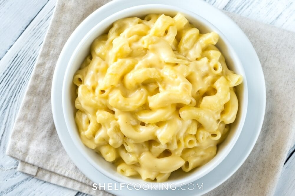 big white bowl of macaroni and cheese, from Shelf Cooking