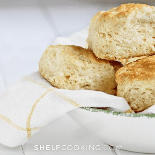 bowl of buttermilk biscuits, from ShelfCooking.com