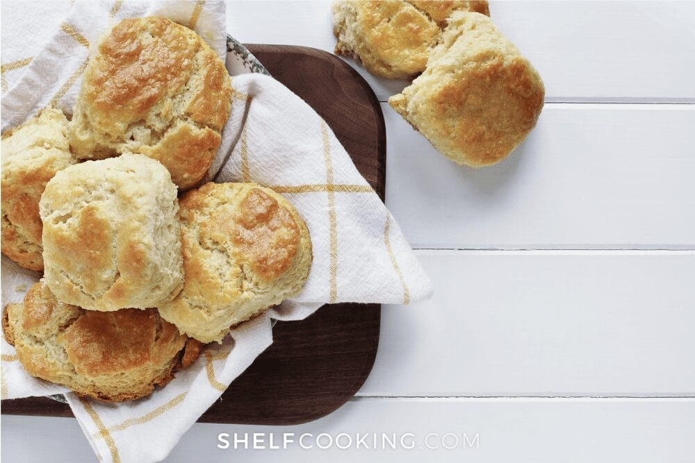 fresh buttermilk biscuits on a napkin, from Shelf Cooking