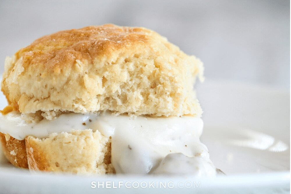 buttermilk biscuit with white gravy, from Shelf Cooking