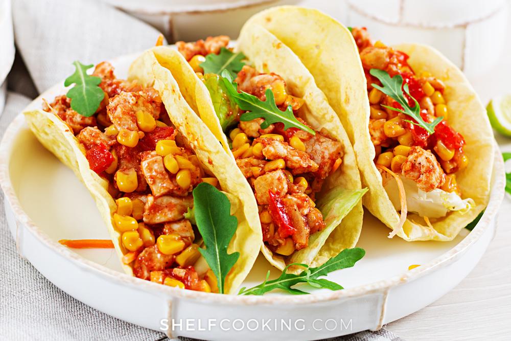 diced salsa chicken crockpot tacos, from Shelf Cooking