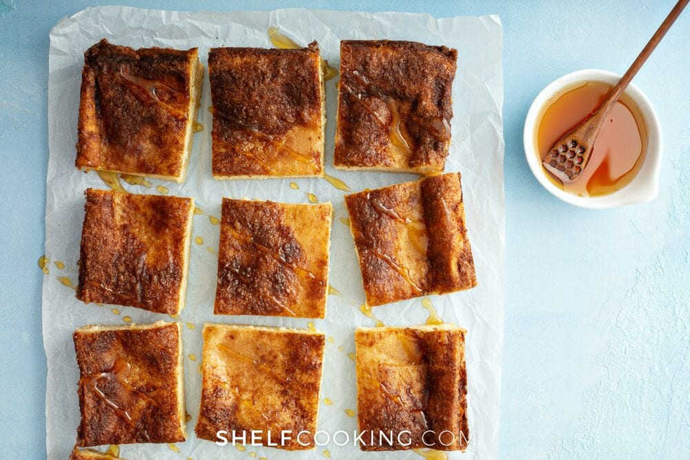 sopapilla cheesecake squares with honey, from Shelf Cooking