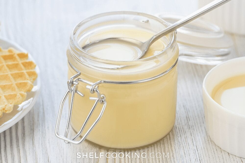 glass canister of evaporated milk, from Shelf Cooking