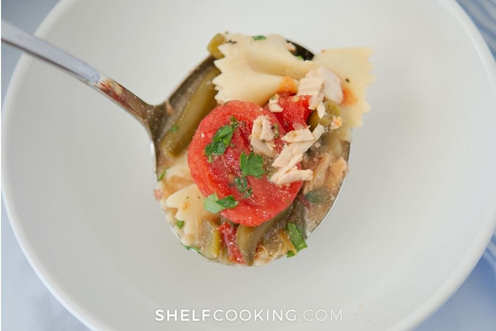 a spoonful of tuxedo soup, from Shelf Cooking