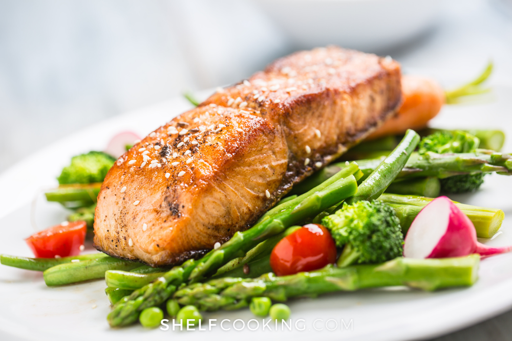 salmon and veggies, from Shelf Cooking