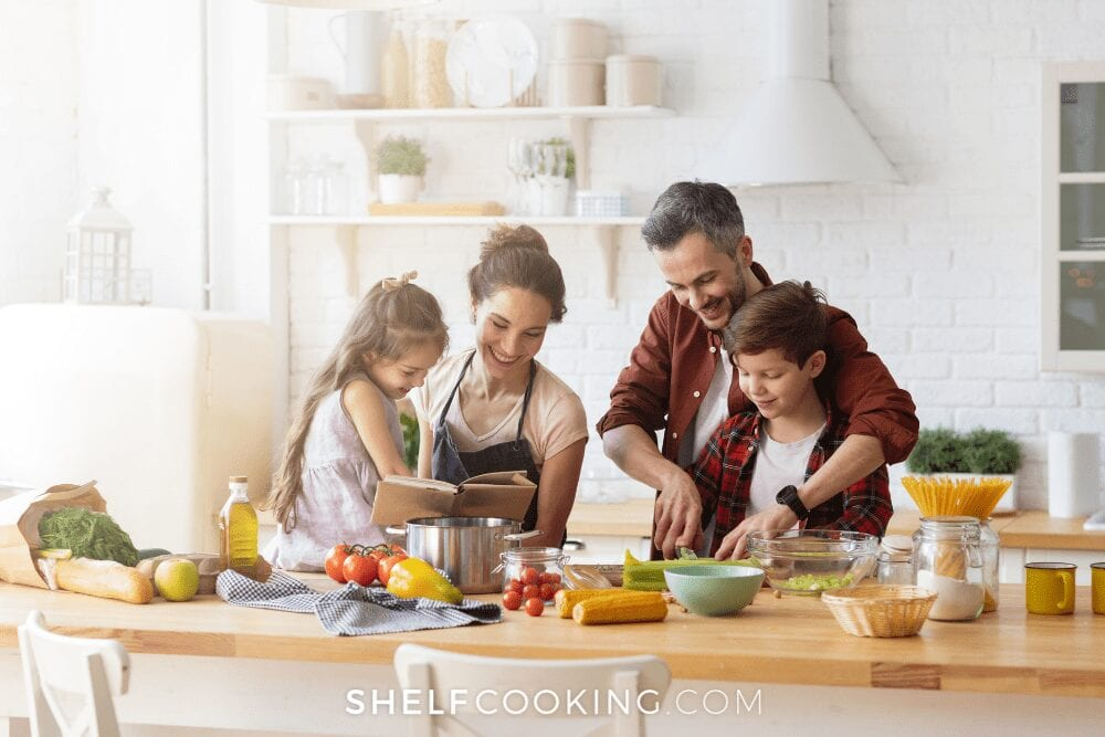 family cooking together, from Shelf Cooking