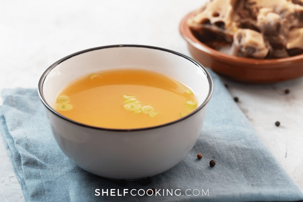 bowl of beef broth, from Shelf Cooking