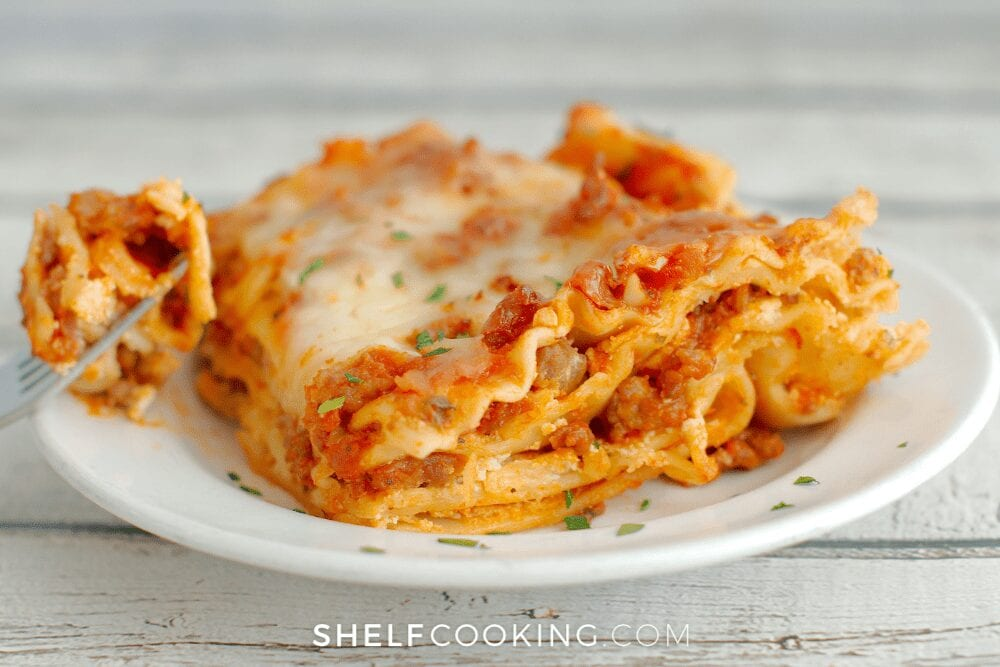 Crockpot lasagna on a plate, from Shelf Cooking