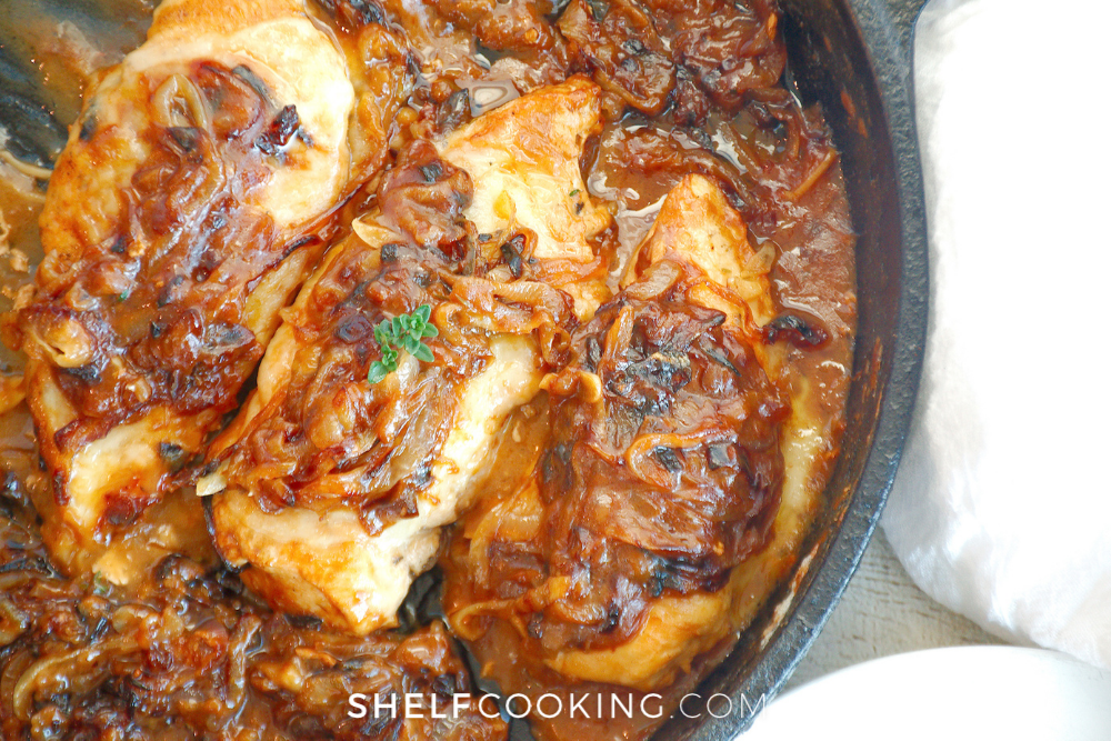 fresh baked french onion chicken in the pan, from Shelf Cooking