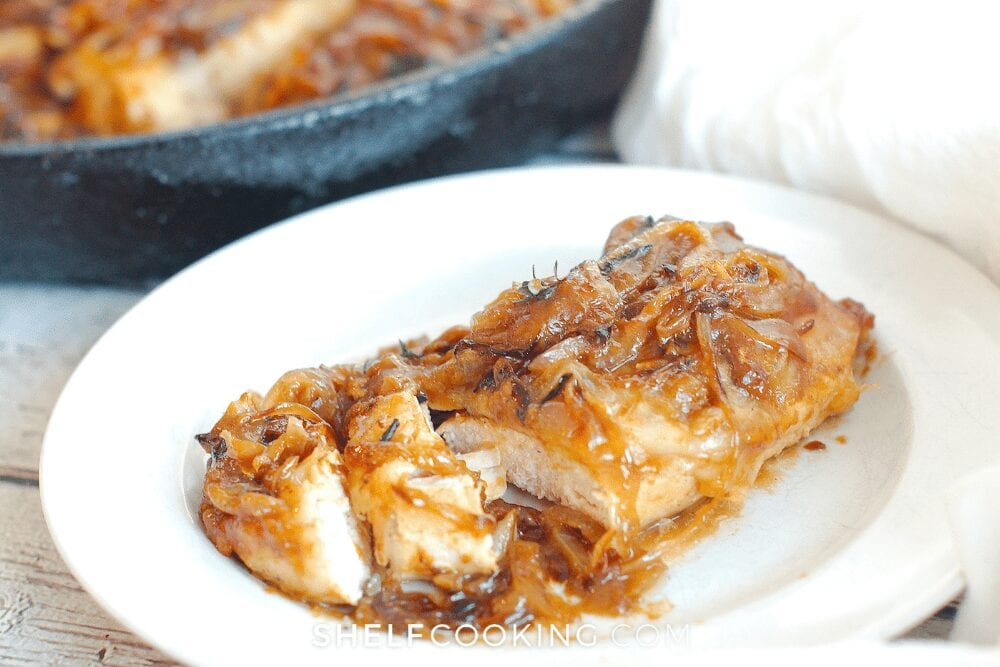 a plate of homemade french onion chicken, from Shelf Cooking