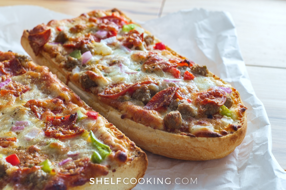 french bread pizza with pepperoni and peppers, from Shelf Cooking