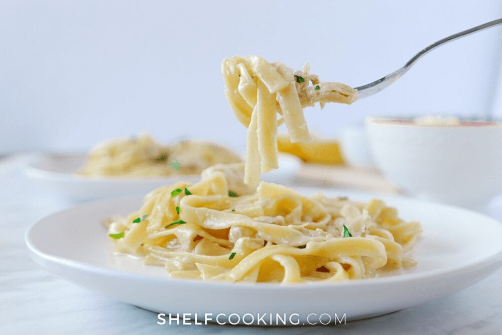 a plate of homemade chicken Alfredo, from Shelf Cooking