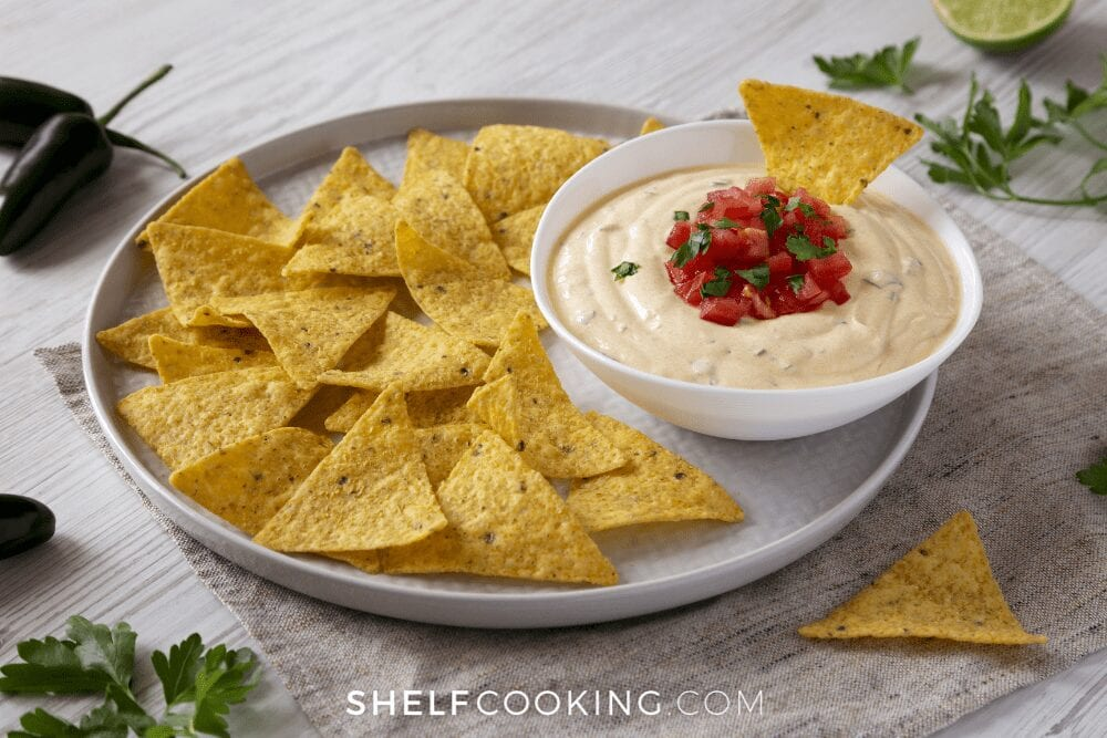 queso and chips on a plate, from Shelf Cooking